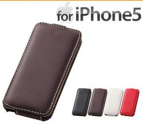 iPhone5 カバー フラップタイプ・レザージャケット ダークブラウン.png